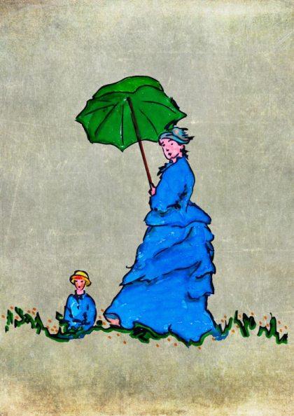 La passeggiata di Camille Monet con il figlio Jean sulla collina – di Claude Monet 🍏 Ri-visto da Antonietta