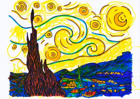 Notte stellata – di Vincent Van Gogh 🍏 Ri-visto da Maria
