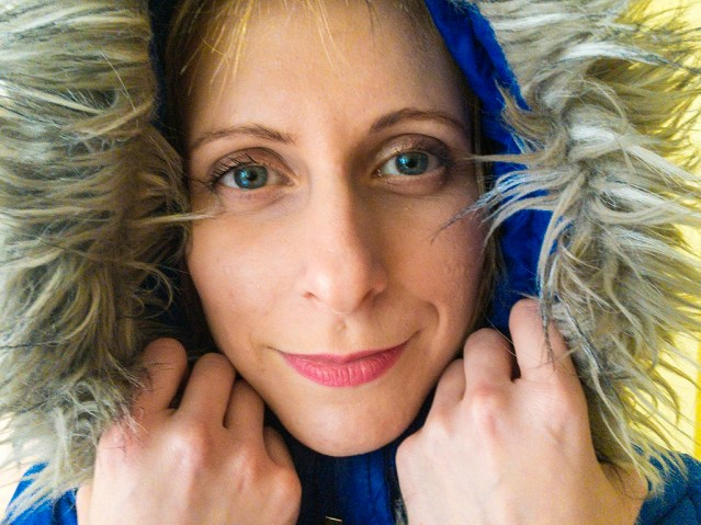 Portrait Caucasian Woman with Hoody