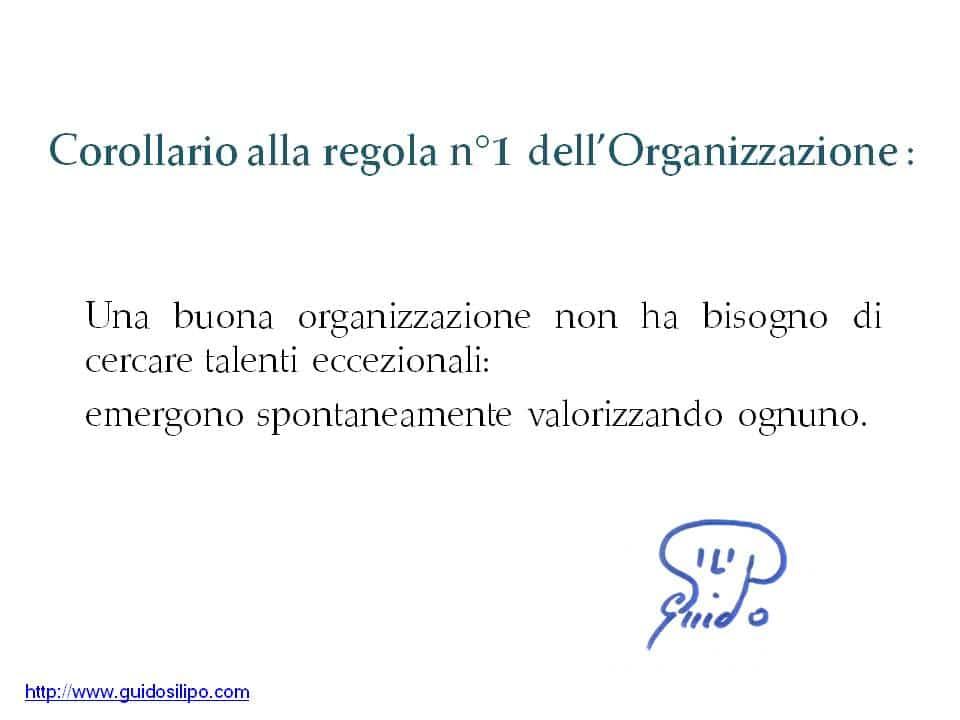 corollario-organizzazione-1: Una buona organizzazione non ha bisogno di cercare talenti eccezionali: emergono spontaneamente valorizzando ognuno.
