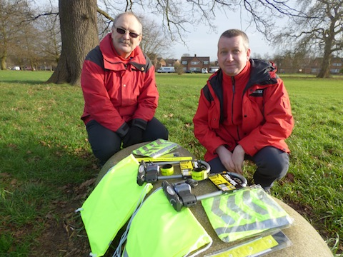 Guildford Borough Council community wardens Garry Jones and Andy Coumbe with items in the free cycle safety packs.