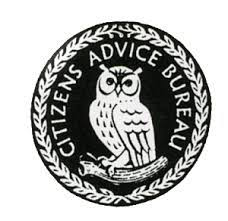 An earlier logo of the Citizens Advice Bureau, giving the image of a wise old owl at work!