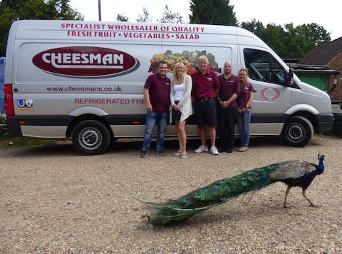 Some of the Cheesman Bros team: From left: Dave Sturgess, Clare Din, Martin Cheesman, xx and xx, with one of their peacocks strutting by!