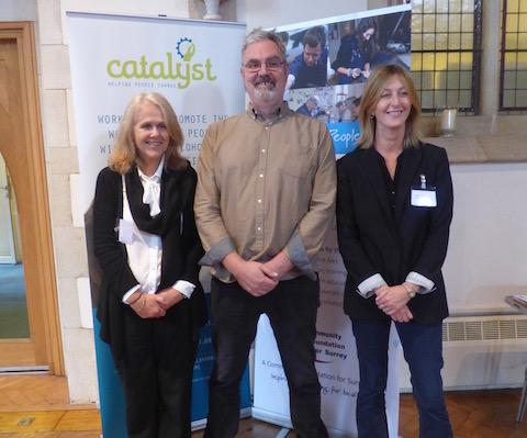 From left: John O'Byrne and Hadyn Morris with Sally Taylorson of Guildford Advice Services who was the main organiser of the conference. Well done to them all!