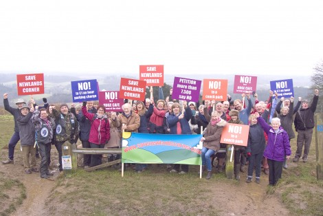 Protestors demand that Newlands Corner is saved from Surrey County Council's proposals.