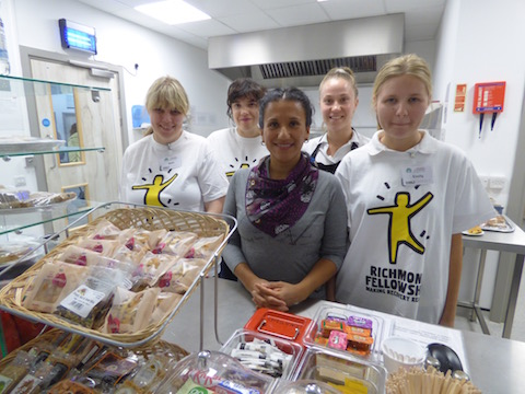 Pictured at Sparky's Café, from left: volunteers Beth and Kelly, manager Maris Ruiz, staff member Ellie and volunteer Emily.