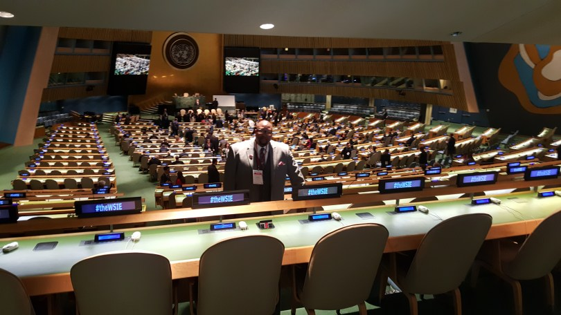 Dr. David Anderson, Founder and Pastor of Bridgeway Community Church in Columbia, Maryland, surveys the U.N. auditorium where he will give a presentation on race relations to a group of corporate and government leaders from around the world.
