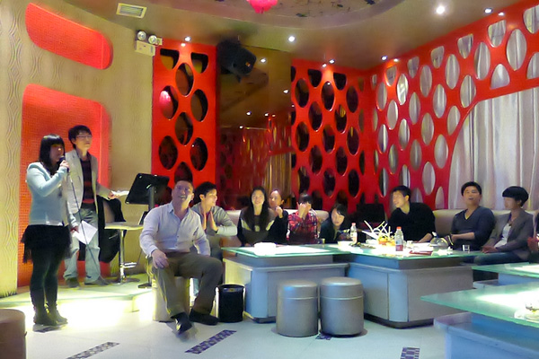 Singing competition in a KTV bar