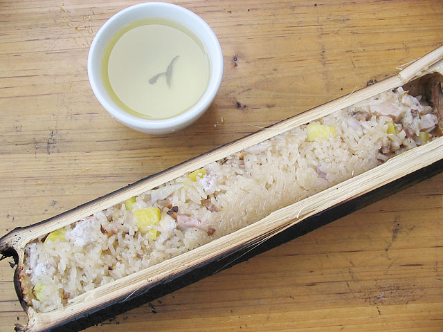 Rice Steamed in Bamboo