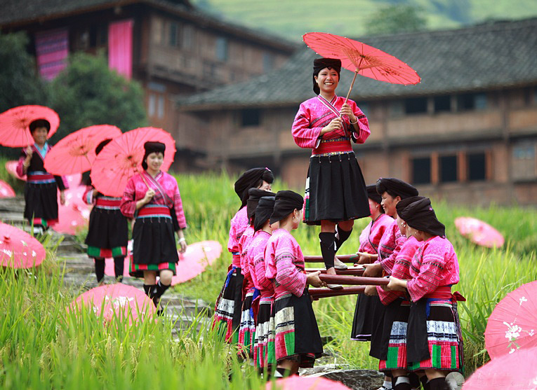 Red clothes of Yao minority in longsheng,Guilin