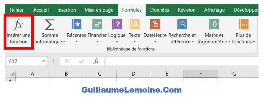 Insérer une fonction Excel - Onglet Formule