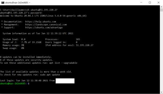 Connexion SSH VPS