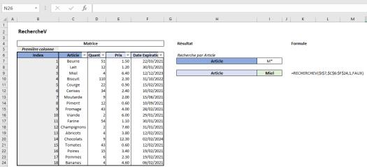 Excel RechercheV Exemple 8