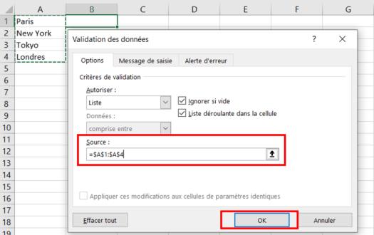 Liste Déroulante Excel - Référence