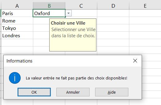 Validation des données Excel - Informations Message