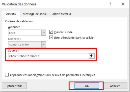 Validation des données Excel - Source