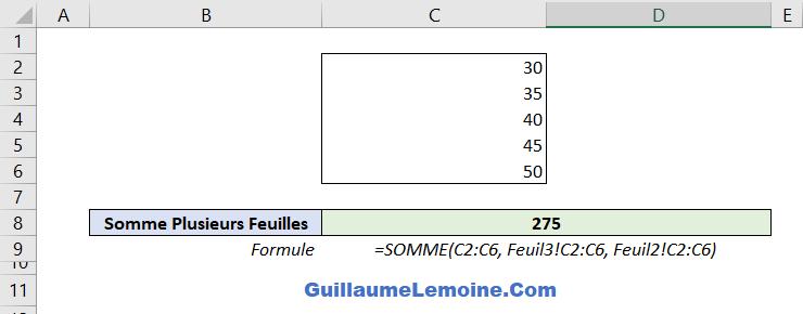 Fonction Excel SOMME - Exemple Plusieurs Feuilles