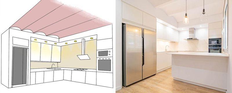 dibujo vs cocina construida