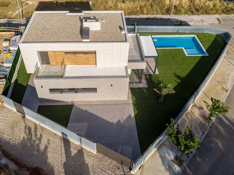 Vista aérea de vivienda unifamiliar