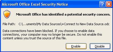 Mensaje de Seguridad de Excel (click Enable)