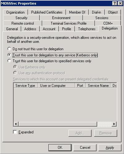 Configurar la opción Trust this user for delegation.