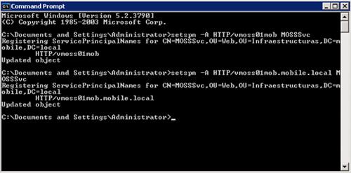 Configurar los SPN (Service Principal Name) de HTTP para MOSS, con el comando setspn
