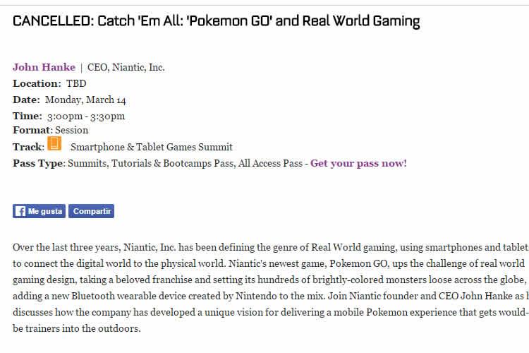 pokemon go cencela su ponencia en la GDC