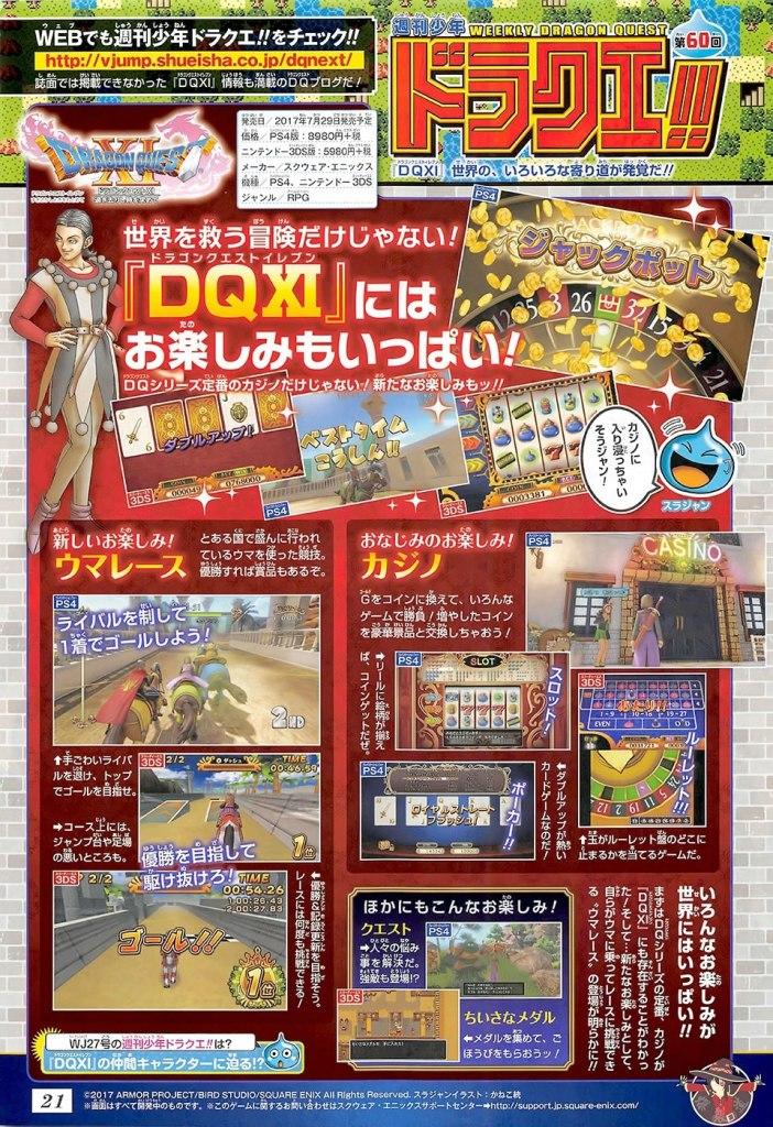las carreras de caballo y el casino de dragon quest xi