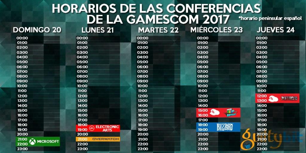 horarios de las conferencias de la gamescom 2017