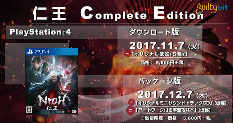 La Edición Completa de Nioh llegará el 7 de noviembre