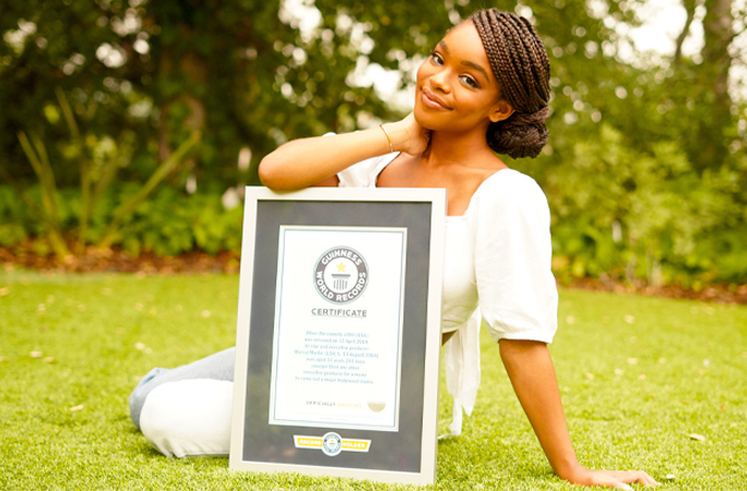 Marsai Martin youngest Hollywood executive producer smiling with Guinness World Records certificate
