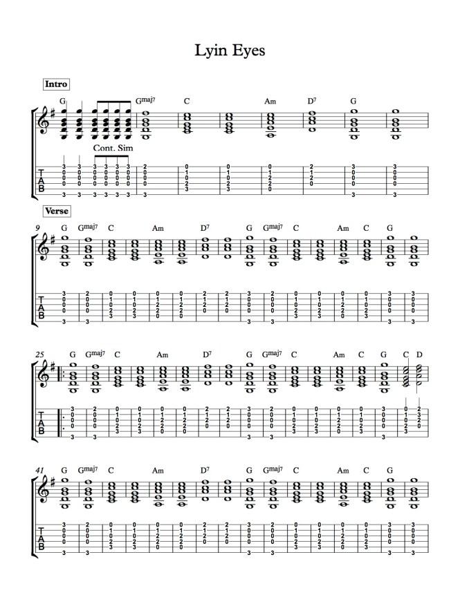 Fine Lying Eyes Chords Embellishment - Basic Guitar Chords For ...