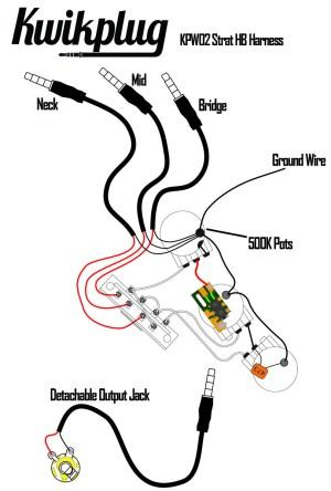 Kwikplug Strat HSHHSS Humbucker Wiring Harness PRESOLDERED DropIn