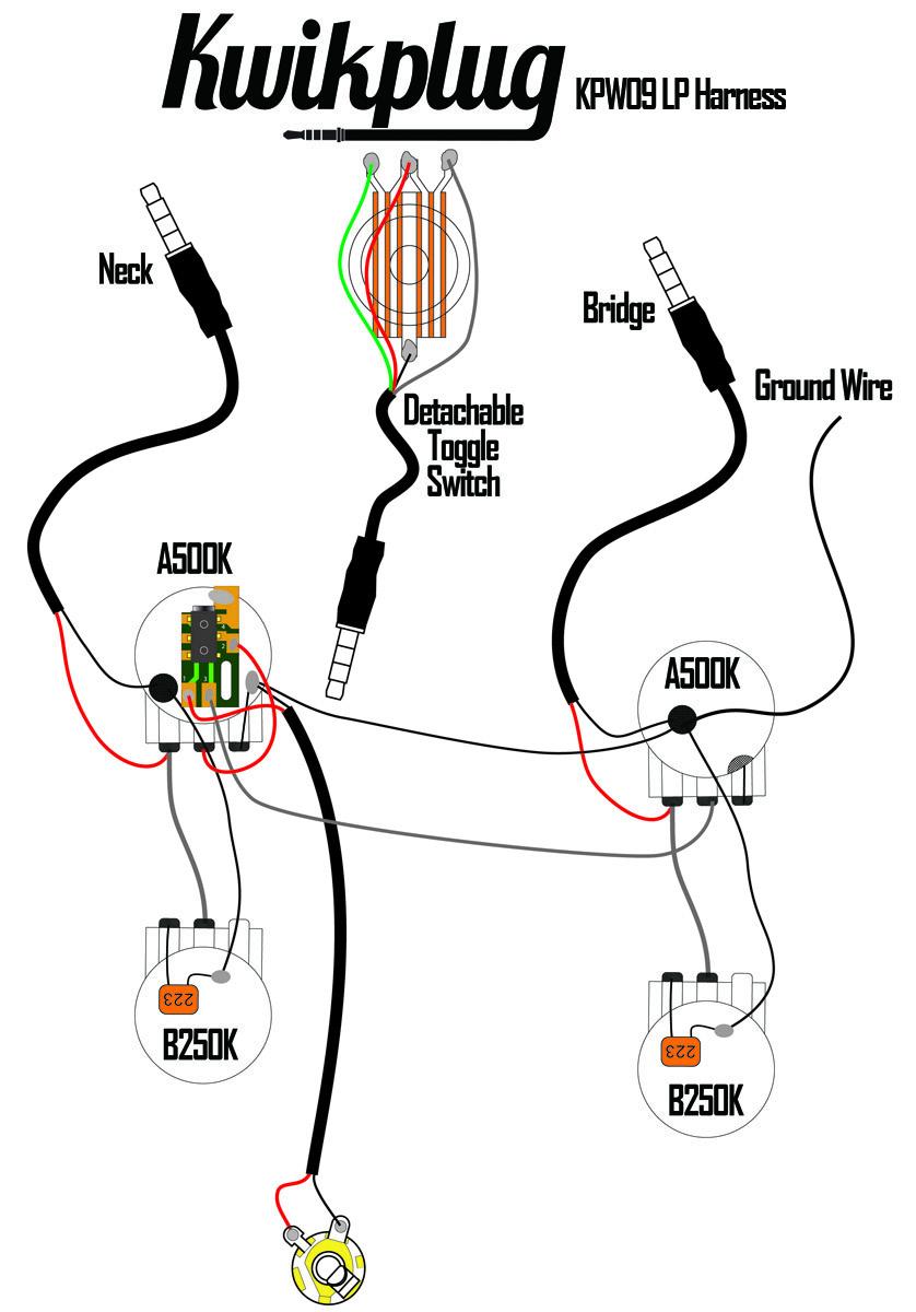 Kwikplug Lp 2 Humbucker Wiring Harness Pre Soldered Drop In