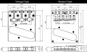 Vintage Style 6 Saddle Tele® Bridge