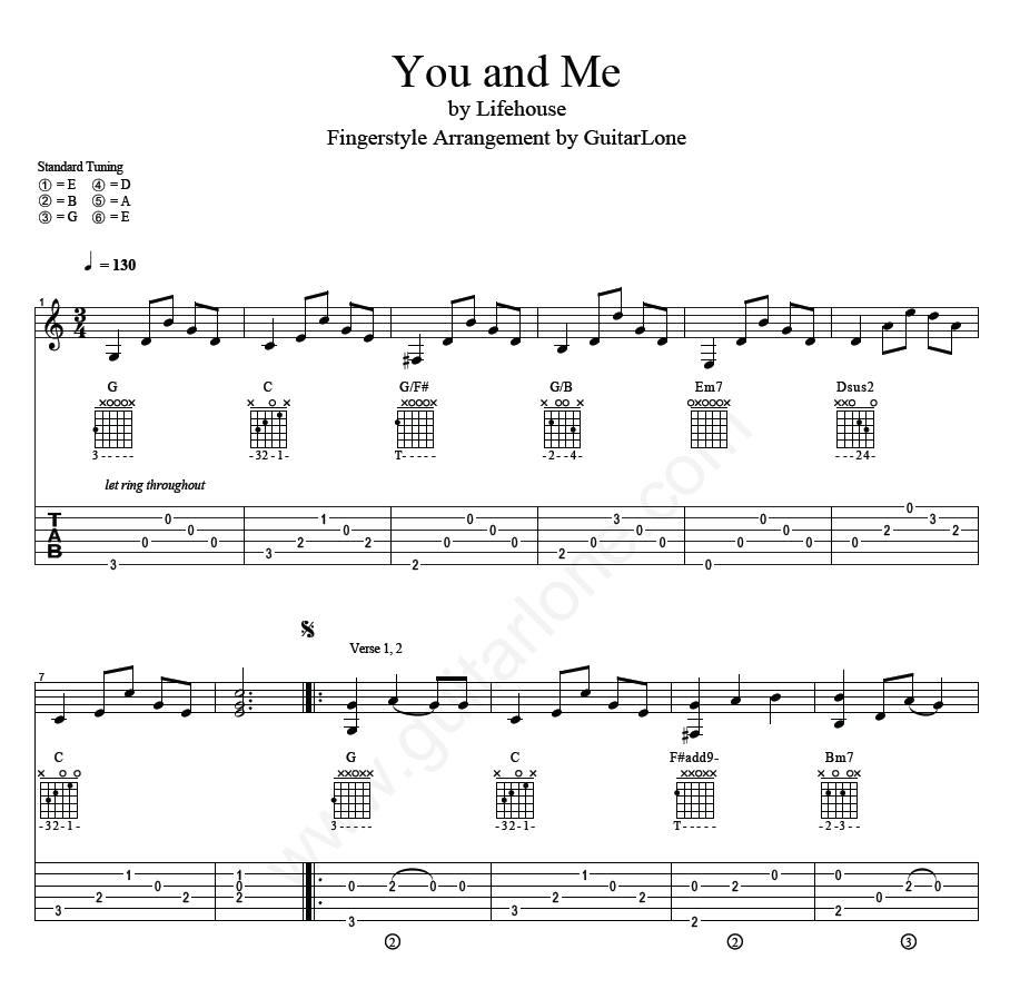 Lifehouse You And Me Fingerstyle Tab Guitarlone
