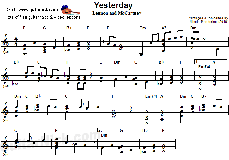 Yesterday Flatpicking Guitar Tab Guitarnick Com