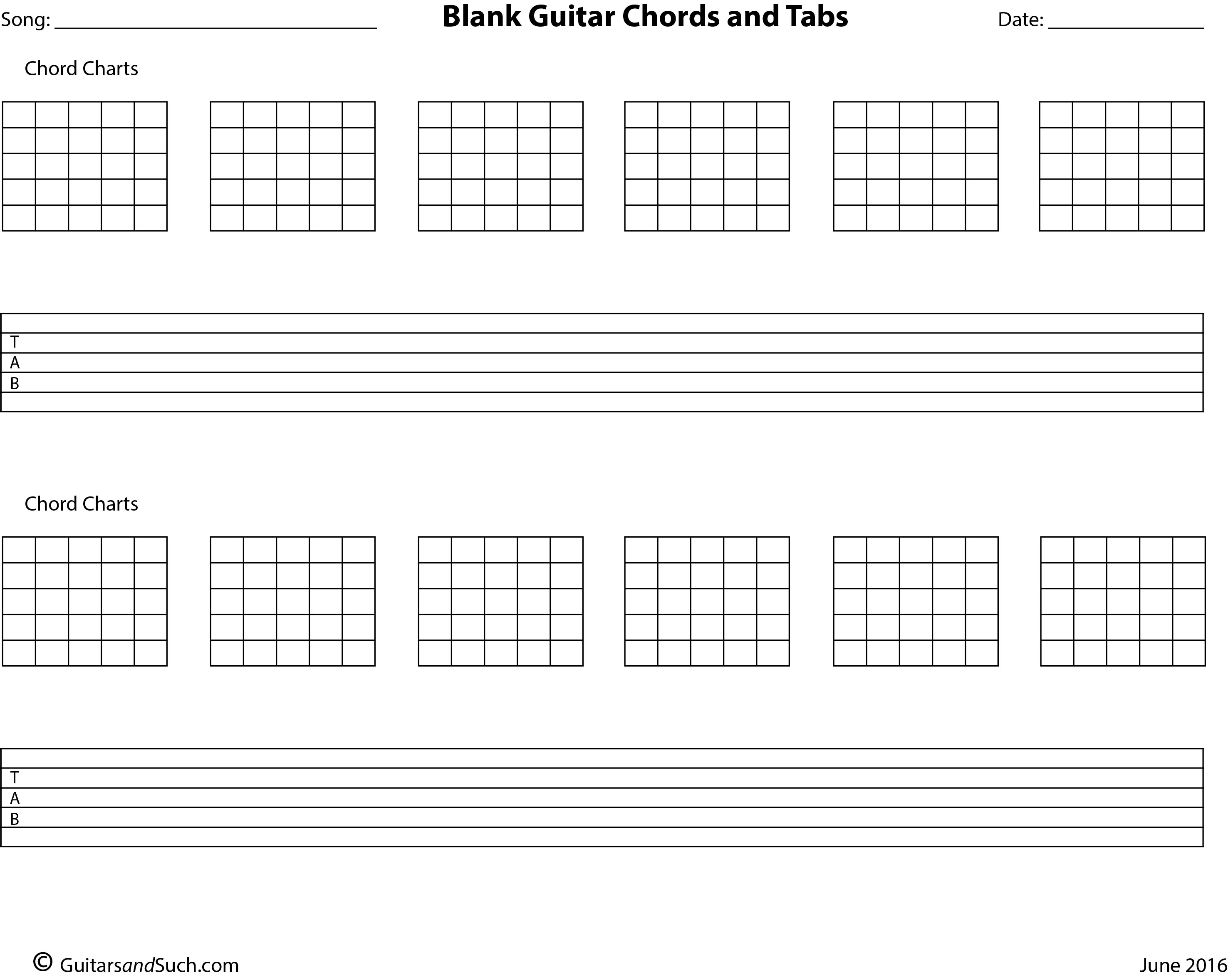 Blank Guitar Chord Chart And Tab Template