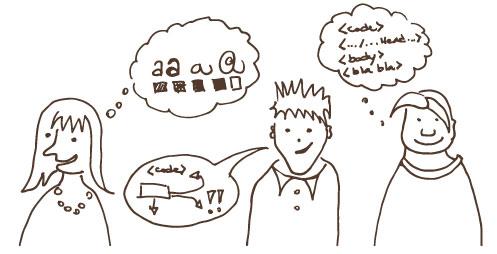 Web designer, web developer, programmer sketch.