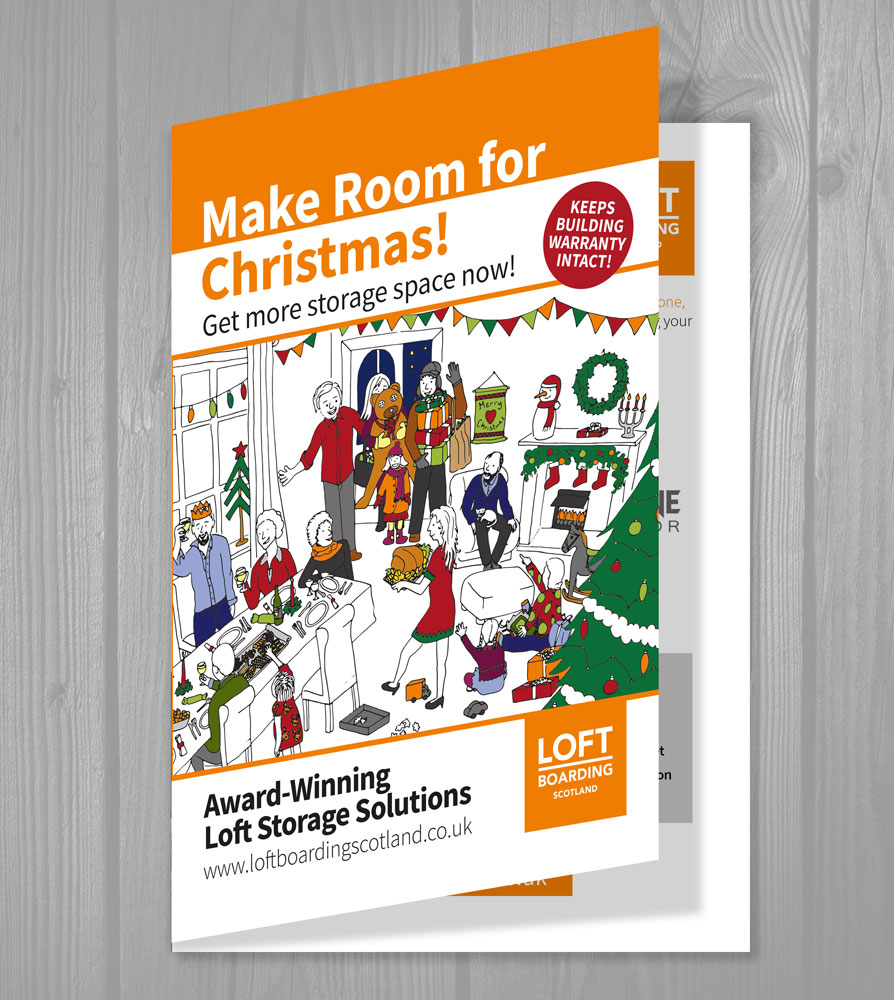 Corporate leaflet design: Make Room for Christmas - Outside view