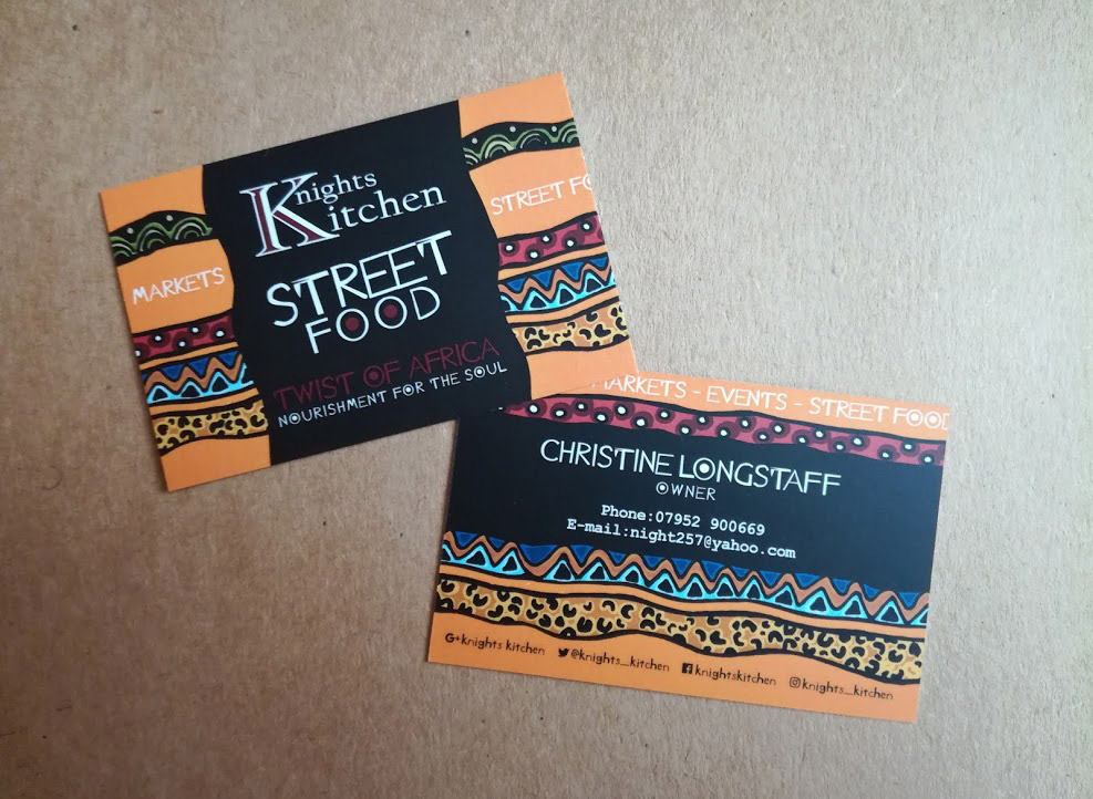 Business cards for Knoghts Kitchen