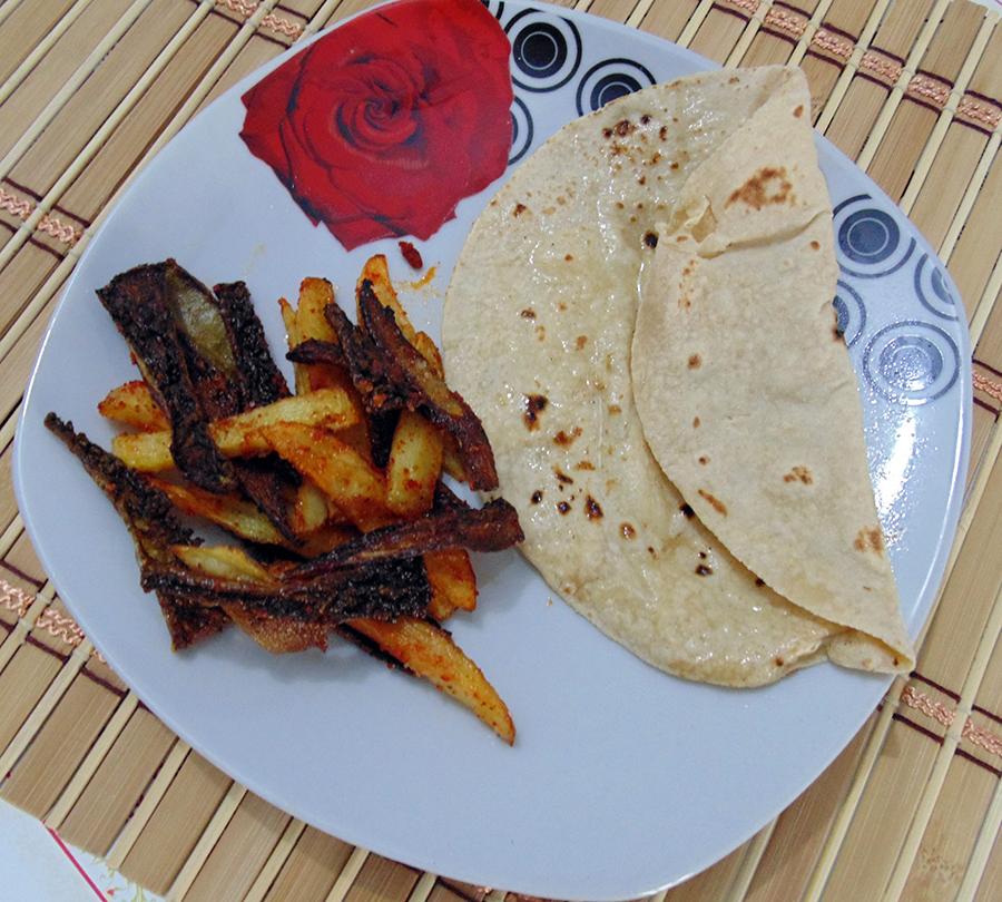 Crispy Karela Batata Fry