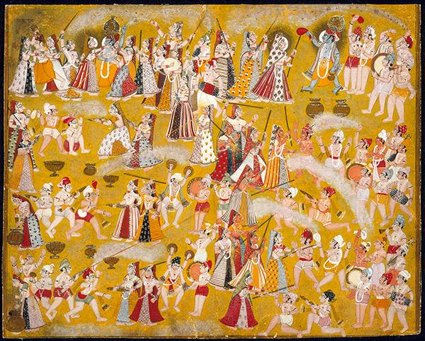 Krishna and Radha Holi Celebration