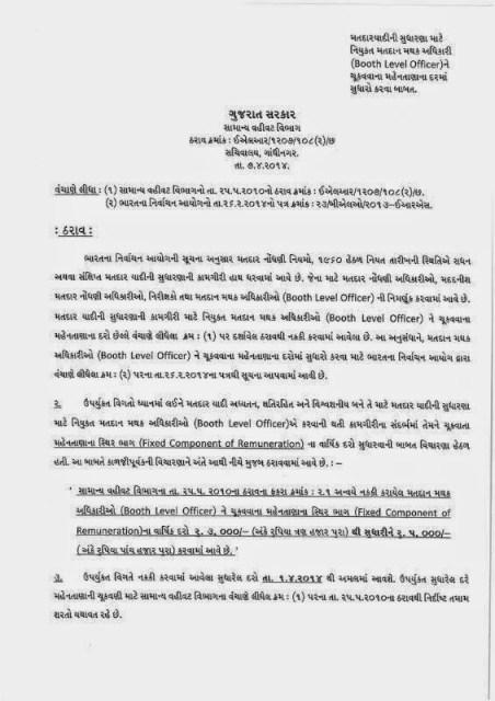 BLO Ne Chukavavana Mahentana Dar Ma Sudharo Circular 07-04-2014