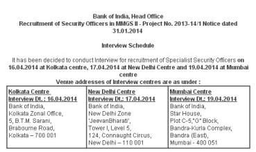 Bank of India Security Officers Interview Schedule