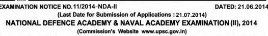 UPSC NDA NA 2 Examination 2014