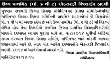 Gandhinagar Uper Primary Ektarafi Jillafer Badli Camp 2014 Notification