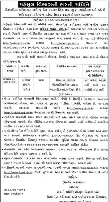 Gujarat Revenue Department Surveyor Recruitment 2014