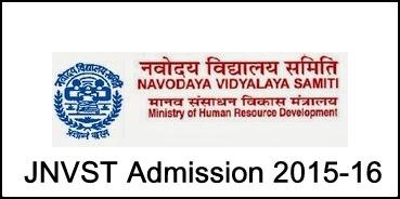 Jawahar Navodaya Vidyalaya Admission 2015-16 Notification