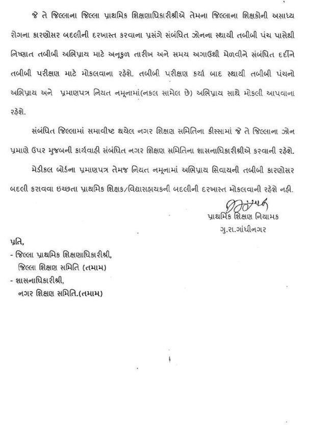 Primary Teacher Tabibi Badli Niyam Sudhara Babat Paripatra Date 28-07-2014 1